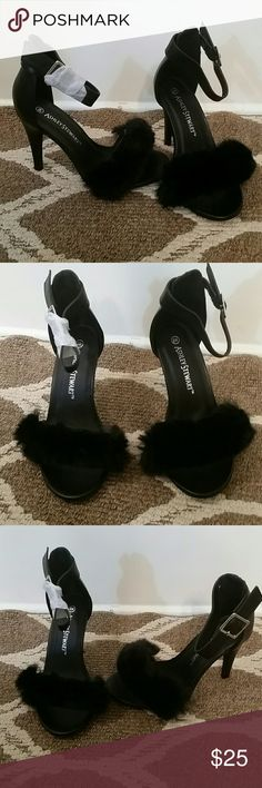 Fur heels Never worn fur heels wide width Ashley Stewart Shoes Heels