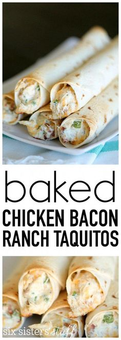 Baked Chicken Bacon Ranch Taquitos Delicious baked taquitos with a creamy cheese and chicken filling. - Chicken Bacon Ranch Taquitos from SixSistersStuff.com. Even my picky eaters love these! Great for lunch, dinner or an afterschool snack. #recipe I Love Food, Good Food, Yummy Food, Tex Mex, Frango Bacon, Baked Chicken, Chicken Recipes, Recipe Chicken, Caramel Chicken