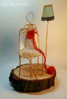 Ich Strick dir einen Schal.... Wire Crafts, Diy And Crafts, Arts And Crafts, Newspaper Crafts, Book Crafts, Paper Mache Sculpture, Origami Art, Kirigami, Wire Art