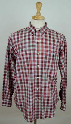 Men's Polo Ralph Lauren Bartlett red black plaid LS button down L shirt used #RalphLauren #ButtonFront