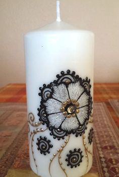 3x6 Holiday special Handpainted henna candles with  by ArtbyMeena