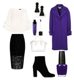 A fashion look from November 2017 featuring ruffle sleeve shirt, blue coat and calf length skirts. Browse and shop related looks. Emilio Pucci, Opi, River Island, Shoe Bag, Purple, Polyvore, Stuff To Buy, Shopping, Shoes