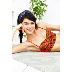 Out From Under Printed Longline Underwire Bikini Top (33 CAD) ❤ liked on Polyvore featuring swimwear, bikinis, bikini tops, red multi, longline bikini top, retro bikini, swimsuits tops, longline bikini and longline underwire bra