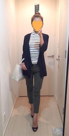 Navy cardigan: ZARA, Striped tops: H&M, Khaki skinny: GAP, Bag: la kagu, Pumps: Christian Louboutin