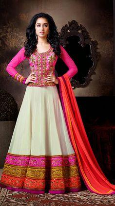 Shraddha Kapoor In Off White Floor Length Anarkali Suit BR111644