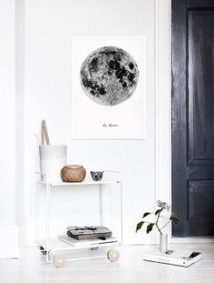 ♥ La Lune ,Moon Poster ♥ Printable Wall Art - Affiche Scandinave Perfect as a gift or wall art for homes and offices with a black and white