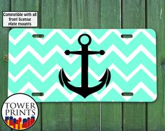 Front License Plate Mount, License Plate Frames, License Plates, Mint Chevron, Vehicle Accessories, Nautical Design, Custom Tags, Car Stuff, Anchors