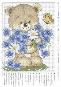 Teddy bear with blue flowers cross stitch Cross Stitch For Kids, Cross Stitch Love, Cross Stitch Pictures, Cross Stitch Animals, Cross Stitch Flowers, Cross Stitch Kits, Cross Stitch Charts, Cross Stitch Designs, Cross Stitch Patterns