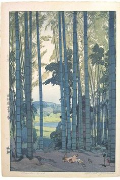 Positive and negative shapes are finely crafted and balanced in this painting by early 20th century artist, Hiroshi Yoshida.