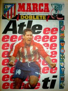 """Portada de Marca con el """"doblete"""" del atlético, 95-96 At Madrid, My Images, Comic Books, Football, Baseball Cards, Comics, History, Retro, Life"""
