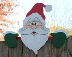 Santa Fence Topper Christmas by DadandSonsWW on Etsy, $40.00