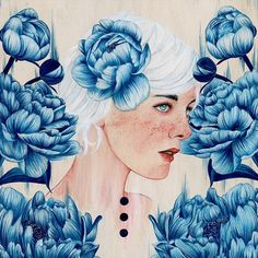 #art #artist #artwork #paint #painting #illustration #illustrations #portrait #girl #flowers #blue #acrylic #gouache #drawing #society6 @society6