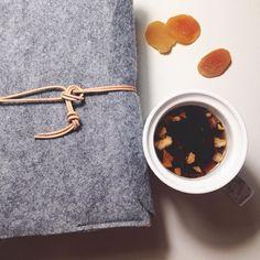 Hand made journal/notebook with tea. Felt case - beauty.