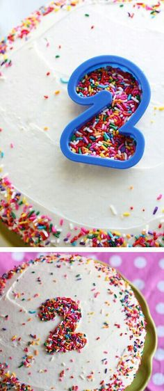 Need to decorate a Birthday Cake Quick and Easy! Grab a cookie cutter…place it on the top of the cake and shake your favorite sprinkles and voila instant decoration! Add some sprinkles to the sides and you will be amazed how awesome your cake looks! Sprinkle Party, Sprinkle Cakes, Baby Sprinkle, Homemade Birthday Cakes, 1st Birthday Cake Easy, Birthday Cake Recipes, Homemade Birthday Decorations, Birthday Cake Cookies, Little Girl Birthday Cakes