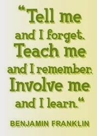 Tell me and I forget. Teach me and I remember. Involve me and I learn by Benjamin Franklin. This is one of my favorite quotes and I will have it hanging in my classroom one day! Great Quotes, Quotes To Live By, Me Quotes, Motivational Quotes, Career Quotes, Teacher Inspirational Quotes, Positive Quotes, Fall Quotes, Leadership Quotes