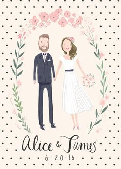 Custom Illustrated Couple Portrait Wedding Invitation Suite - Digital Files only