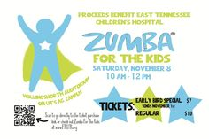 November 8, 2014: Do you love to Zumba? Join For The Kids at UTK in a special 2-hour Zumba fundraising event to benefit East Tennessee Children's Hospital's Hematology and Oncology Clinic. Proceeds will fund life-saving medical equipment.