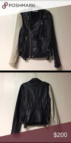 OAK Combo Rider Leather Jacket Super unique, fun leather jacket - Authentic leather with suede sleeve - From OAK NYC - Zipper closure, two zipper pockets - snap card storage on front of jacket, zipper pocket inside of left - Wider sleeve with zipper adjustment - Unisex sizing (M/L women & S for men) OAK NYC Jackets & Coats