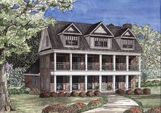 This plan has beautifully crafted columns and a large porch with covered balcony making this Southern home the talk of the neighborhood.  House Plan # 151543.