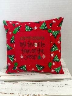 Red Christmas pillow, ornament, stocking stuffer, finished, completed