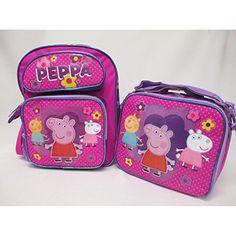 "NEW Peppa Pig Preschool Medium 12"" Backpack Book Bag   Lunch Box  #KidsFurnitureDcorStorage"