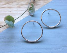 Circle stud earrings Large circle studs in recycled silver Big Earrings, Etsy Earrings, Hoop Earrings, Pillow Box, Hand Stamped, Studs, Recycling, My Etsy Shop, Hummingbird