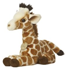 Realistic Stuffed Giraffe Calf 10 Inch Plush Animal by Aurora at... ($14) ❤ liked on Polyvore featuring stuffed animal