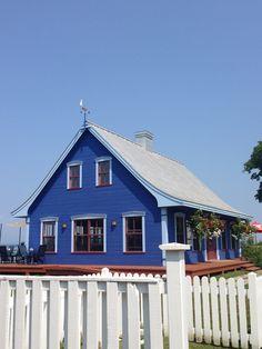 Blue house in Kamouraska, Quebec