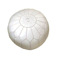 Moroccan Embroidered Leather Poof, Pouf, White on White (Unstuffed)