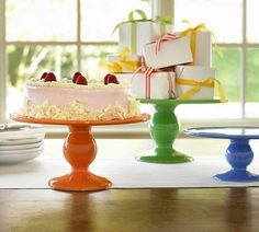 Bright colored cake stands.