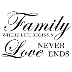 """15""""x23"""" (Small) - Family Where Life Begins And Love Never Ends - Inspirational Family Wall Decal Quote Home Removable Wall Decor. $19.00, via Etsy."""