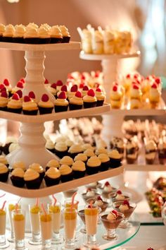 So pretty! Bite-sized desserts all lined up in beautiful display towers…