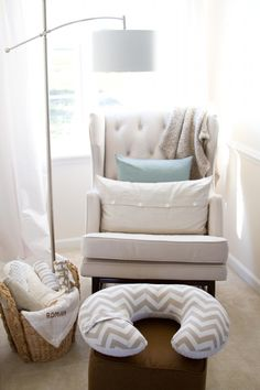 Comfy nursery nook via Project Nursery. #laylagrayce #nursery