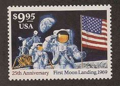 US Stamps depicting Neil Armstrong's first steps on the moon as a United States astronaut.    This is a modern express mail stamp that is valid to pay for $9.95 in shipping costs.