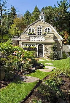 Happy Hollow: A Gambrel-Style House & Guest Cottage 125 Rockwood Brookline MA - formal living room - previous listing photo. Path from cottage to house. Cozy Cottage, Cottage Living, Cottage Homes, Cozy House, Cottage Style, Cottages And Bungalows, Cabins And Cottages, Cabana, Gambrel Roof