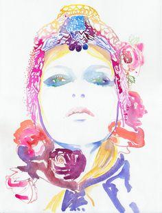 "Watercolour Painting Fashion Illustration 8"" x 10"" Print  - Roses. $35.00, via Etsy."