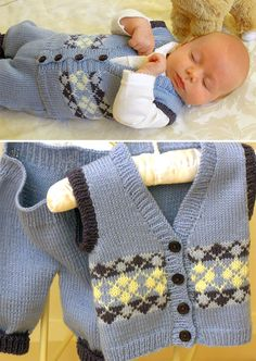 Knitting Pattern for Baby Argyle Vest and Pants - SIZE 0-3 [3-6: 6-9] months. Designed by OGE Knitwear Designs