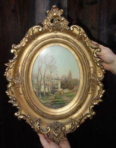 1of2 Vintage carved Gilt wood gesso frame fr KPM plaque painting mirror giltwood