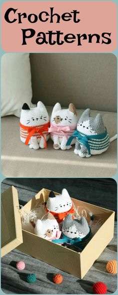 Love these super cute cats crochet patterns #cats #catlovers #crochet #ad #crochetpatterns #crochetanimals