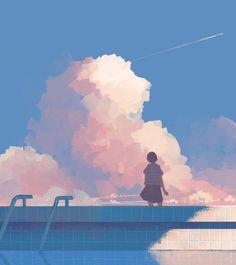 anime, anime girl, and illustration image Art And Illustration, Illustrations, Pretty Art, Cute Art, Bel Art, Art Mignon, Drawn Art, Anime Scenery, Art Design
