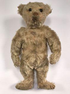 """Antique 10"""" Steiff Teddy Bear 1904/05, Light Blonde / Off White Mohair, Button #Steiff"""