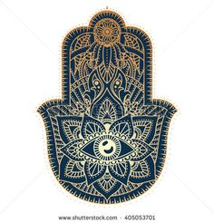 Hamsa hand, Hand of Fatima - amulet, symbol of protection from devil eye, good luck charm. Vector Indian hand drawn hamsa with ethnic ornaments.