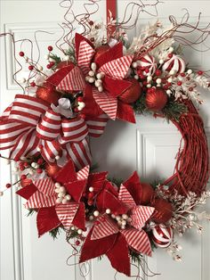Holiday wreaths, Christmas wreaths, candy canes, red and white stripes