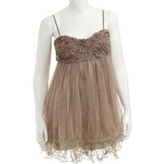 rue21 ROSETTE CAMI W TULLE BTN ❤ liked on Polyvore featuring dresses, brown cami and brown camisole