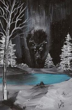 """Spirit of the North by Leola Walker (southshoreartist)4"""" x 6"""" acrylic"""