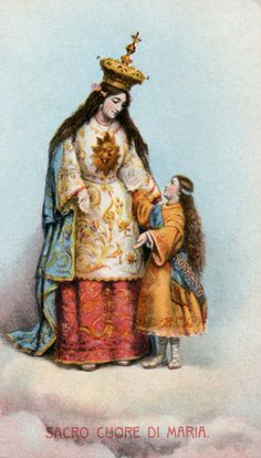 Sacro Cuore di Maria A holy card of the statue of the Sacred Heart of Mary, patroness of the town of Sorrento (represented by the figure of the young girl) in Italy.