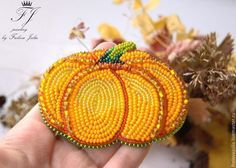Beaded pumpkin pin