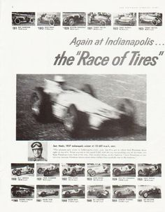 "Description: 1957 FIRESTONE TIRES vintage magazine advertisement ""Race of Tires"" -- Again at Indianapolis ... for the 34th consecutive ""500"" the ""Race of Tires"" is won on Firestone! ... Sam Hanks, 1957 Indianapolis winner at 135.601 m.p.h. says: ""The pressure gets worse at Indianapolis every year, but I've got to admit that Firestone stays right on top of it. ... Firestone knows more about rubber than anybody else in the business."" -- Size: The dimensions of each page of the two-page…"