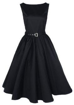 Vintage style 1950's Audrey Hepburn style dress - black