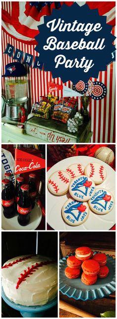 What an amazing 70th birthday party with a vintage baseball theme! See more party ideas at CatchMyParty.com!